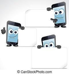 ensemble, de, rigolote, dessin animé, intelligent, téléphone., attachez art