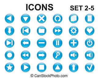 ensemble, de, rond, icônes