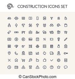 ensemble, de, rond, ligne, construction, icônes