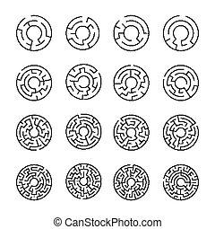 ensemble, de, rond, ligne, labyrinthe, icônes