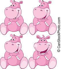 ensemble, de, rose, hippopotame, -, premier, dents