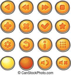 ensemble, de, rouges, boutons, vecteur, jeu, icônes