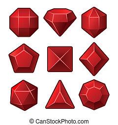 ensemble, de, rouges, gemmes, pour, match3, games., vecteur