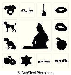ensemble, de, shiva seigneur, contour, images, blanc, fond, , denver, horizon, las vegas, étoile, david, pomme, t rex, lèvres, chien boxeur, icônes