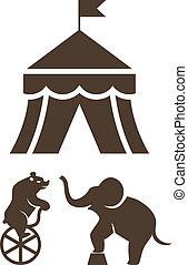 ensemble, de, silhouette, cirque, icônes