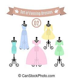 ensemble, de, soir, dresses., vendange, robes, sur, mannequins., vector.