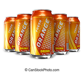 ensemble, de, soude orange, boissons
