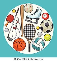 ensemble, de, sports, icône