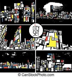 ensemble, de, stylisé, cityscapes, architecture, silhouettes, de, bâtiments