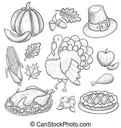 ensemble, de, thanksgiving, icônes