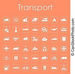ensemble, de, transport, icônes simples