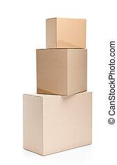 ensemble, de, trois, boîtes