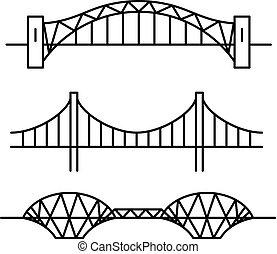 ensemble, de, trois, différent, revêtir art, style, ponts