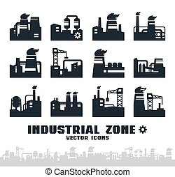 ensemble, de, usine, icônes