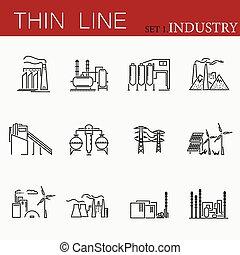 ensemble, de, usines, apparenté, vecteur, ligne, icons.