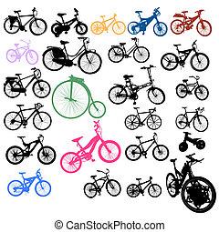 ensemble, de, vélos