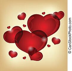 ensemble, de, valentin, cœurs