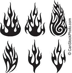 ensemble, de, vecteur, flammes