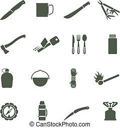 ensemble, de, vecteur, icônes, à, équipement campant, et, accessories.