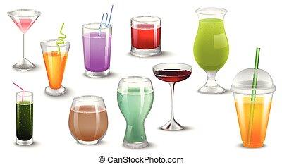 ensemble, de, vecteur, illustration, de, différent, boissons, et, cocktails.isolated, sur, white.