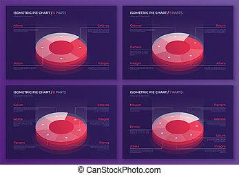 ensemble, de, vecteur, isométrique, graphique circulaire, conceptions, moderne, gabarits, pour