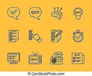 ensemble, de, vecteur, ligne, interroger, icônes