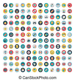 ensemble, de, vecteur, réseau, et, social, média, icons., plat, icône