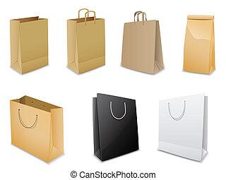 ensemble, de, vecteur, sacs papier