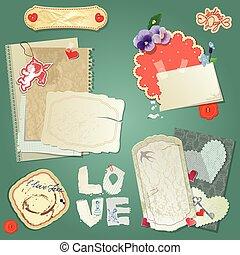 ensemble, de, vendange, cartes postales, vendange, papiers, et, étiquettes, cœurs, pour