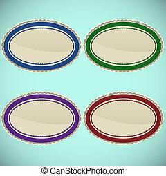 ensemble, de, vendange, ovale, timbres