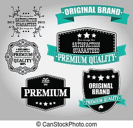ensemble, de, vendange, retro, étiquettes