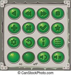 ensemble, de, vert, boutons, vecteur, jeu, icônes