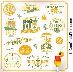 ensemble, de, voyage, et, vacances, emblèmes