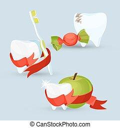 ensemble, dentaire, illustration, vecteur, images, soin