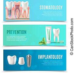 ensemble, dentaire, implants, 3, bannières horizontales