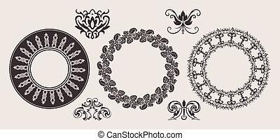 ensemble, dentelle, couleur, une, ornaments., cercle, frontière