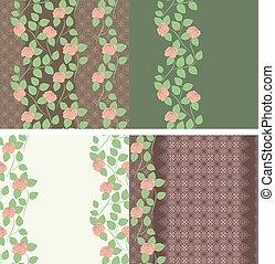 ensemble, dentelle, vertical, pattern., seamless, 4., roses, vecteur