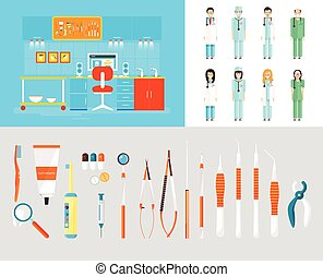 ensemble, dentistes, bureau, instruments, dentaire, pc