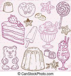 ensemble, desserts, -, main, bonbons, vecteur, dessiné,...