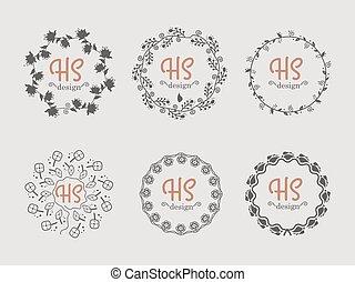 ensemble, dessiné, vecteur, couronnes, main, floral