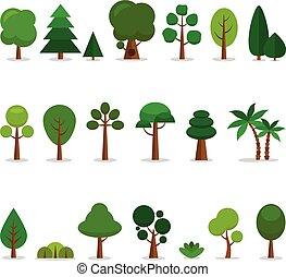 ensemble, dessin animé, arbres