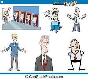 ensemble, dessin animé, business