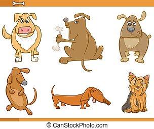 ensemble, dessin animé, caractères, chien