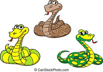 ensemble, dessin animé, caractères, serpent