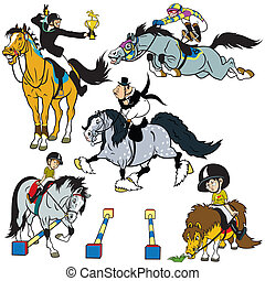 ensemble, dessin animé, cavaliers cheval