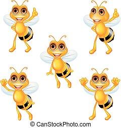 ensemble, dessin animé, collection, abeille
