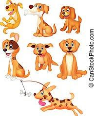 ensemble, dessin animé, collection, chiens