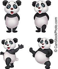 ensemble, dessin animé, collection, panda