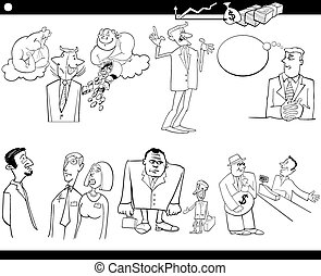 ensemble, dessin animé, concepts affaires