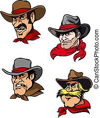 ensemble, dessin animé, cowboys